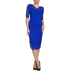 Jolie Moi - Royal 3/4 sleeve v-neck lace bodycon dress