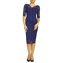 Jolie Moi - Dark purple 3/4 sleeve v-neck lace bodycon dress