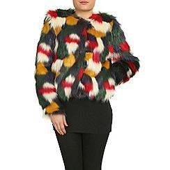Jumpo London - Multicoloured colourful short faux fur coat