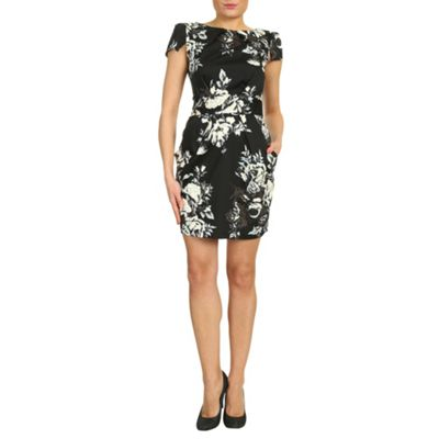 Closet Black floral tie back dress - . -