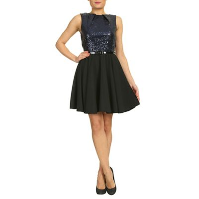 Closet Black sequin bodice flared dress - . -