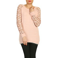 Pussycat London - Pink crochet sleeve soft knit jumper