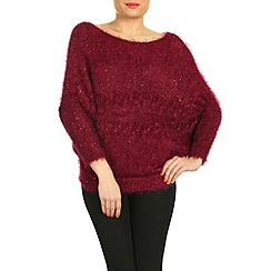 Pussycat London - Dark red eyelash & sequin cable jumper