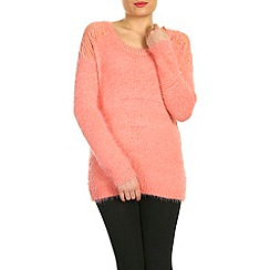 Pussycat London - Pink crochet reverse jumper