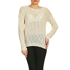 Pussycat London - Cream cream & gold knit rib jumper