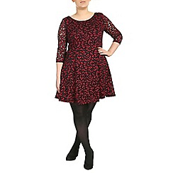 Samya - Dark red 3/4 sleeve lace skater dress