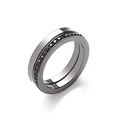 Buckley London - Silver gun metal duo ring