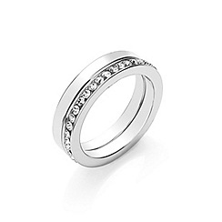 Buckley London - Silver rhodium ring duo