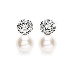 Buckley London - Silver round millgrain pearl earrings