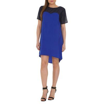 Ayarisa Blue sheer panel dipped hem dress - . -