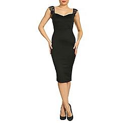 Jolie Moi - Black eyelash lace shoulder bodycon dress