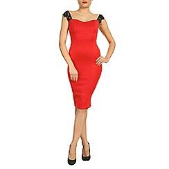 Jolie Moi - Red eyelash lace shoulder bodycon dress