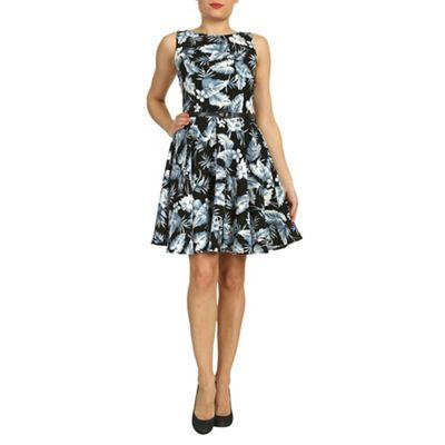Amaya Black leaf print crepe dress with belt - . -