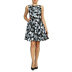 Amaya - Black leaf print crepe dress with belt