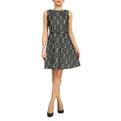 Aaya Black grey lace print skater dress - . -