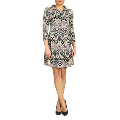 Aaya Beige geoetric print shirt dress - . -