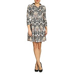 Amaya - Beige geometric print shirt dress