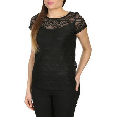 Alice & You Black lace layer tee - . -