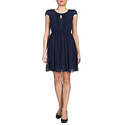 Tenki - Blue cap sleeve chiffon dress