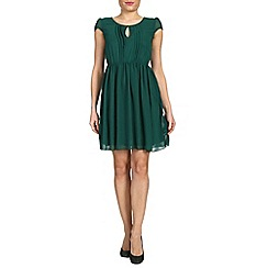 Tenki - Green cap sleeve chiffon dress