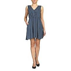 Tenki - Blue v-neck patterned dress