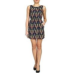 Tenki - Blue sleeveless patterned dress with two pockets