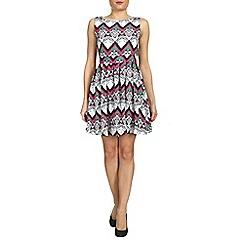Tenki - White patterned flare skirt dress