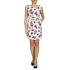 Tenki - White v-neck rose print dress