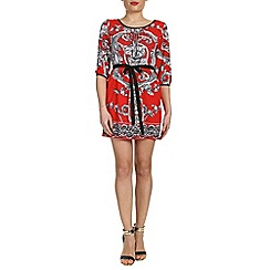 Izabel London - Red 3/4 sleeve printed dress