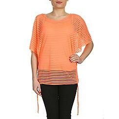 Izabel London - Orange see through stripe top
