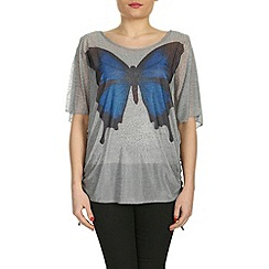 Izabel London - Light grey butterfly print top with vest