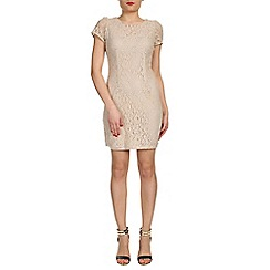Cutie - Beige floral lace bodycon dress
