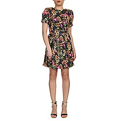 Cutie - Black box pleat floral dress