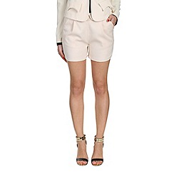 Cutie - Cream textured fabric basic shorts
