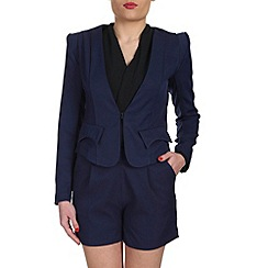 Cutie - Navy flap detail fitted blazer