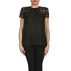 Cutie - Black lace sleeves chiffon blouse