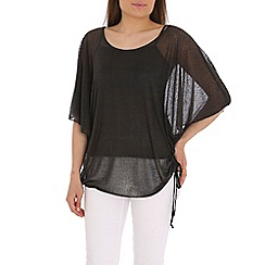 Mandi - Black dipped hem batwing top
