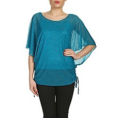 Mandi - Blue dipped hem batwing top