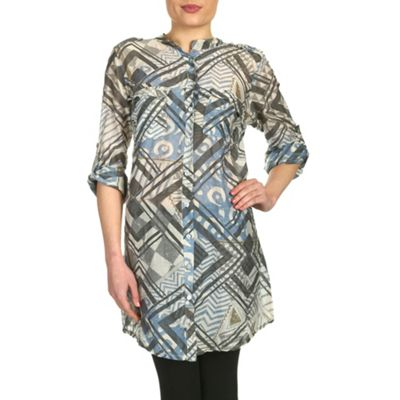 Aaya Khaki grey printed long shirt - . -