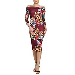 Jolie Moi - Wine bardot neck bodycon dress