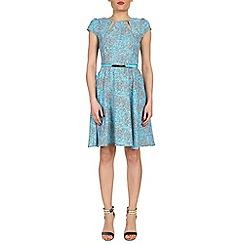 Izabel London - Blue belted baroque print dress