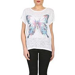 Izabel London - Cream single butterfly print top
