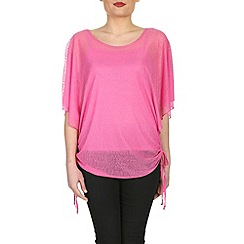 Izabel London - Pink batwing tie detail top