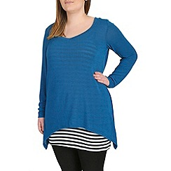 Samya - Blue striped inner detail top