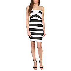 Jumpo London - Black striped boobtube bodycon dress