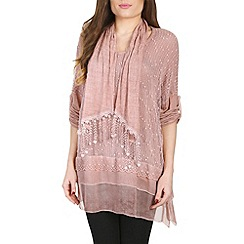 Amaya - Rose tunic with chiffon hem and scarf