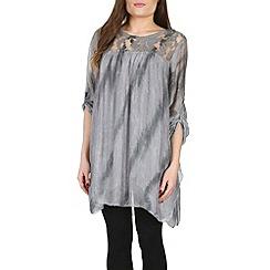 Amaya - Grey silk tunic with lace
