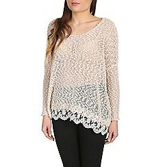 Voulez Vous - Light grey lace trim light knit jumper