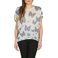 Voulez Vous - Blue floral embellished butterfly top