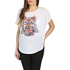 Voulez Vous - White embellished owl zip back top